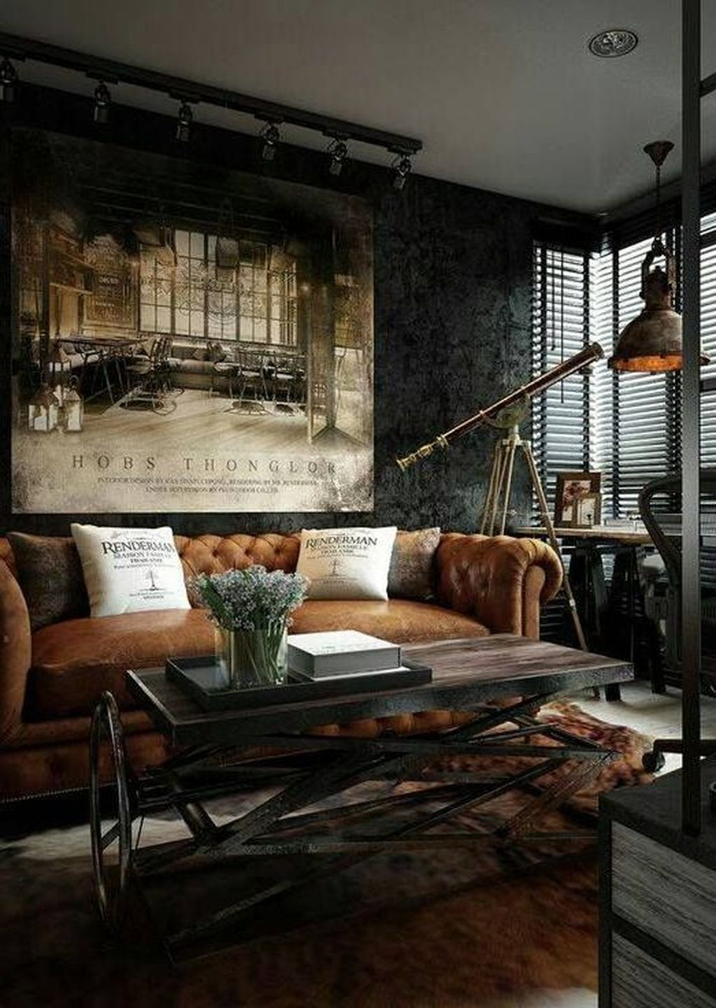 36 Creative Steampunk Room Design Ideas To Try Asap Industrial Living Room Design Small Apartment Interior Apartment Interior Design #steampunk #living #room #decor