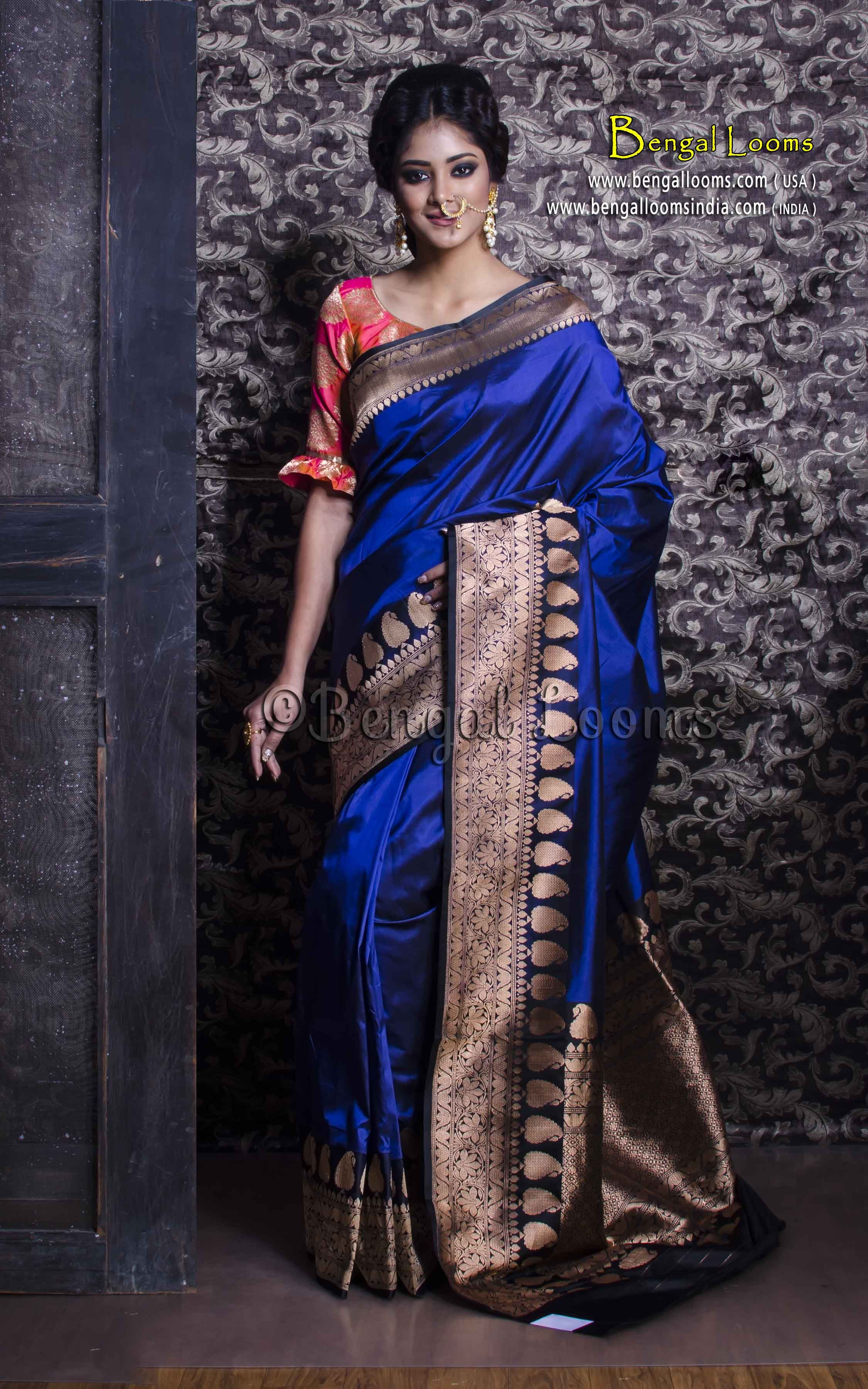 Golden saree blouse design pure handloom katan silk banarasi saree in royal blue and black