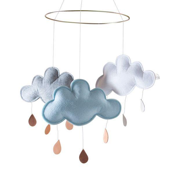 Zimmer Grau Blau: Wolken Mobile Blau / Grau / Weiss