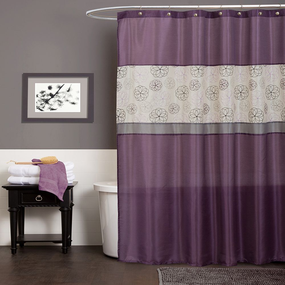 Lush Decor Covina Fabric Shower Curtain Purple In 2020 Purple Bathrooms Fabric Shower Curtains Gray Bathroom Decor