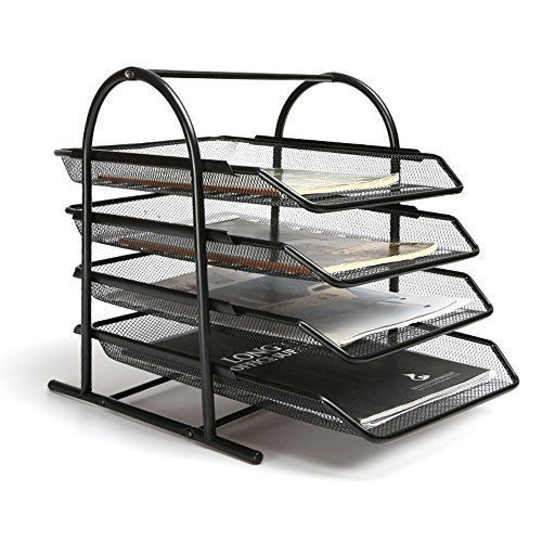 4 Tier Steel Mesh Desk Tray Letter Paper File Holder Organizer Office Supply  #Aojia