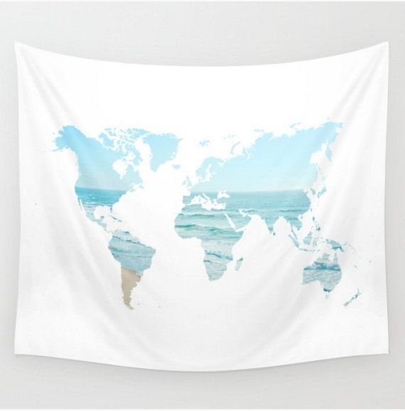 wall tapestry world map blue white ocean beach by