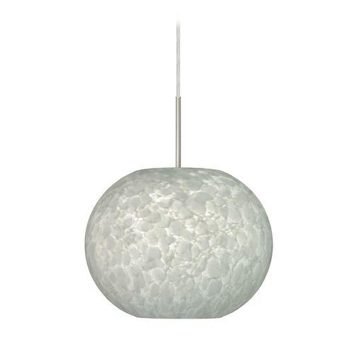 Besa Lighting Modern Pendant Light with White Glass in Satin Nickel Finish | 1JC-477619-SN | Destination Lighting