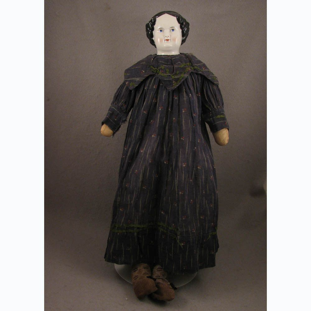 """25"""" Antique 1860s-70s German Flat Top China Head Doll from virtu-doll on Ruby Lane"""