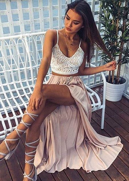 Two pieces prom dress with straps, champagne chiffon prom dress with slit
