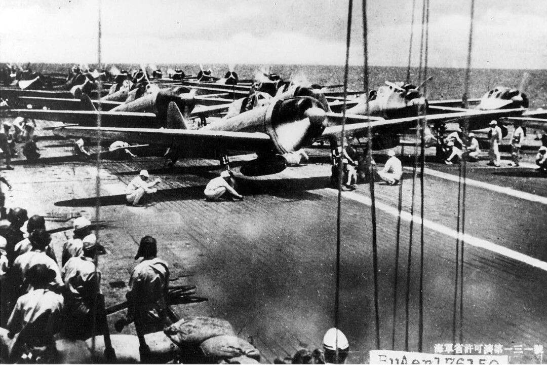 A6M2 just before take off, IJN Carrier Akagi.