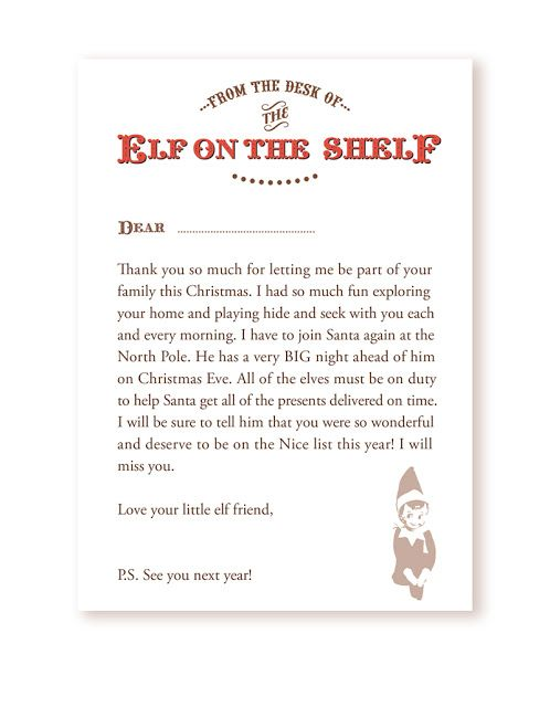 letter from santa printable on shelf arrival letter freebie your 22855