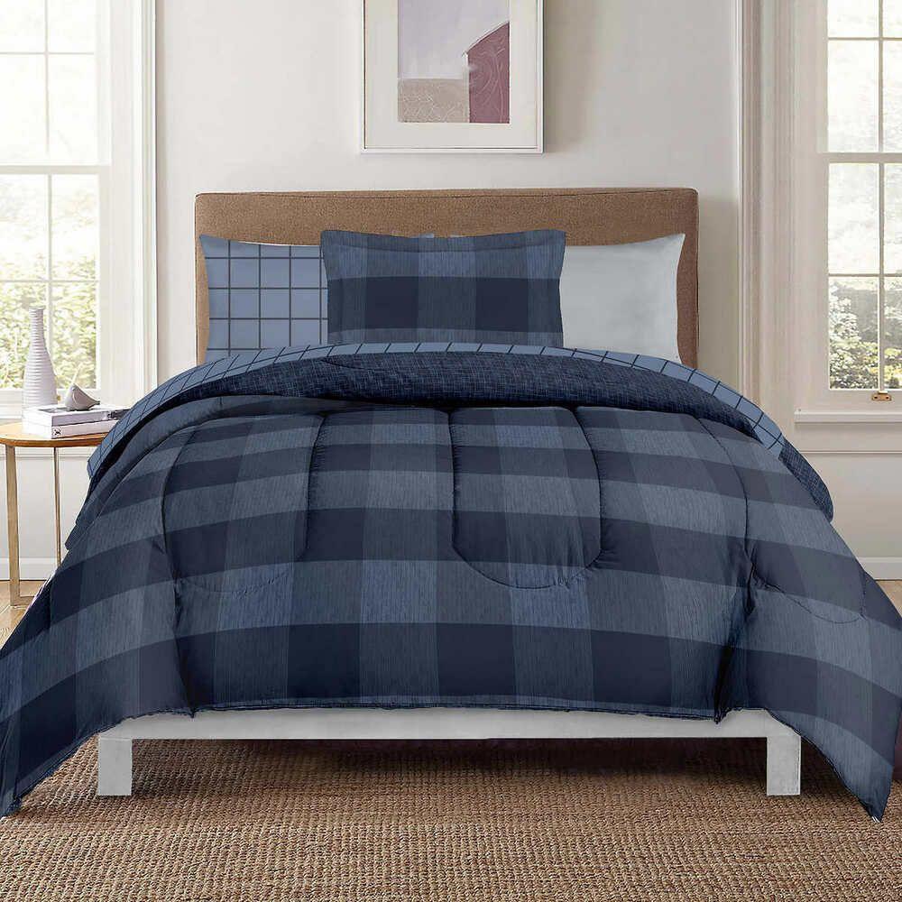 Berkshire Life Twin XL 8piece Comforter Set, Navy Plaid