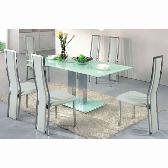 Ice Dining Table In Frosted Glass With 4 Chairs White