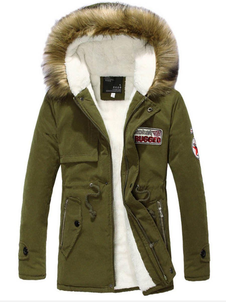 Manteau homme parka a capuche de velours chaud hiver