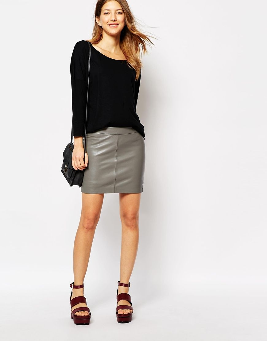 Ganni Leather Mini Skirt | Imaginary Wardrobe | Pinterest | Mini ...