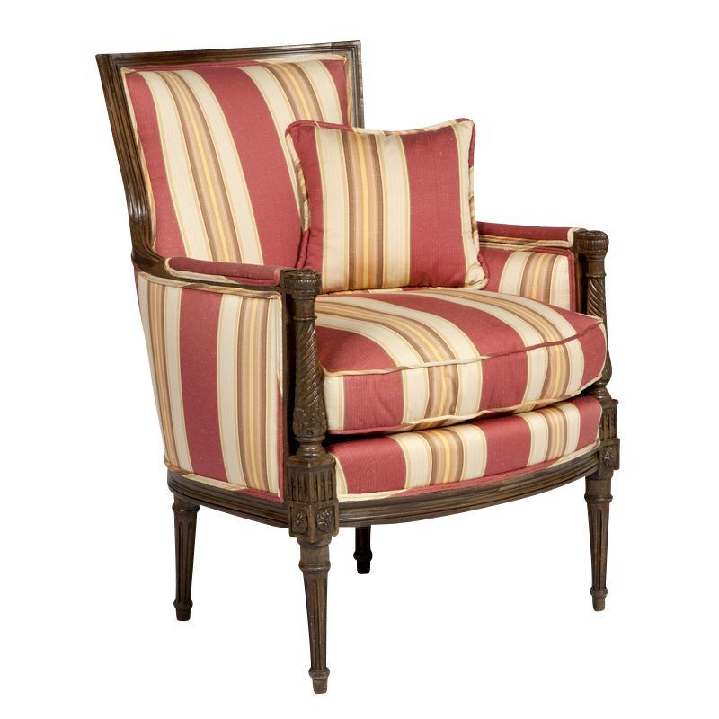 Red Striped Formal Armchair Armchair Red Stripes Small Pillows