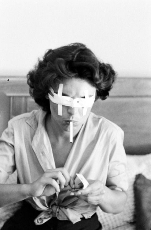 Anne Bancroft preparing for her role in the stage production of The Miracle Worker, 1959. Photo by Nina Leen