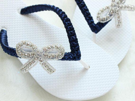 61b337a783a Bridal sandals CUSTOM flip flops Navy Blue ribbon Rhinestone bow applique  Beach