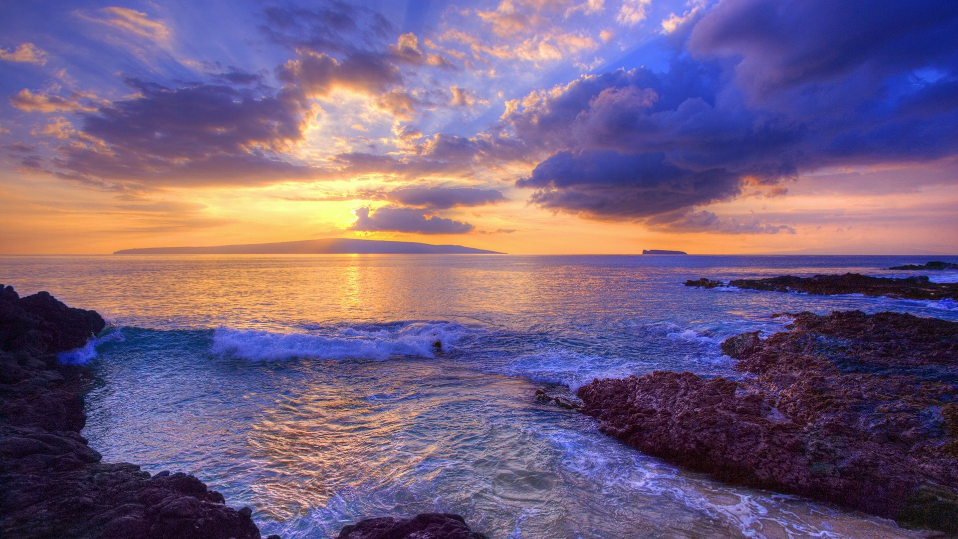 Hawaiian Beach Sunset Wallpaper 秘密のビーチ マウイ島 ハワイ