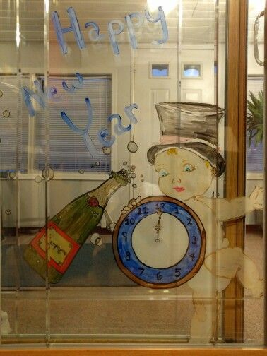 New Years Eve decoration Hand painted sliding glass doors ...
