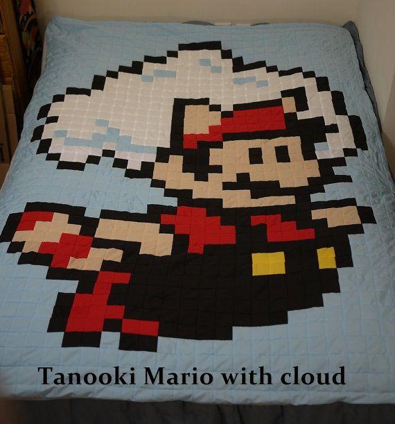 Tanooki Mario with cloud 8bit Quilt on Etsy | For Sale | Pinterest ... : 8 bit quilt - Adamdwight.com