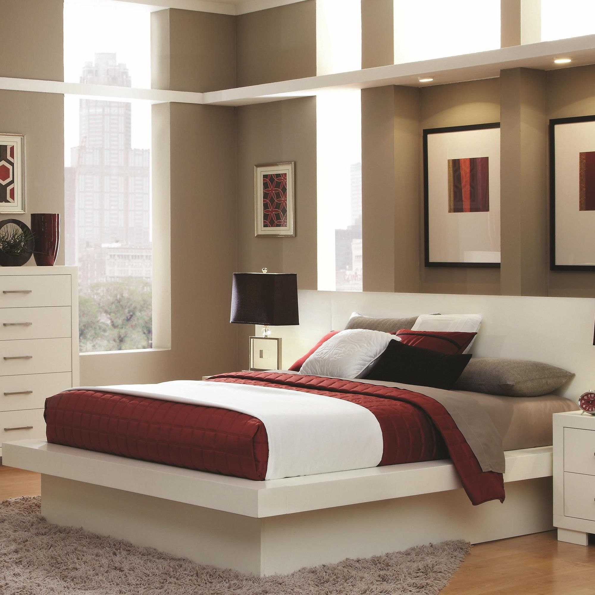 wildon home a bay pier platform bed with rail seating and lights