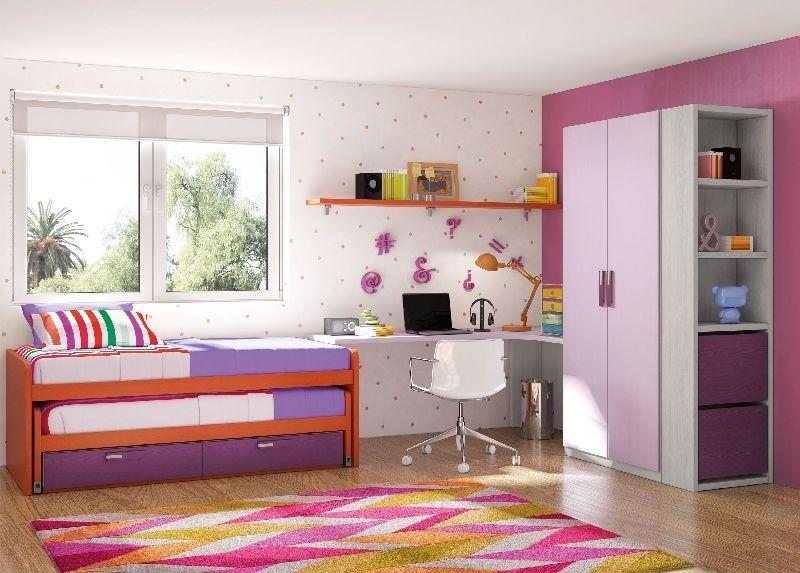 Dormitorio juvenil con camas deslizantes escritorio for Muebles juveniles a medida barcelona