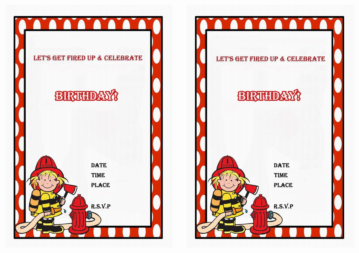 Firefighters Free Printable Birthday Party Invitations