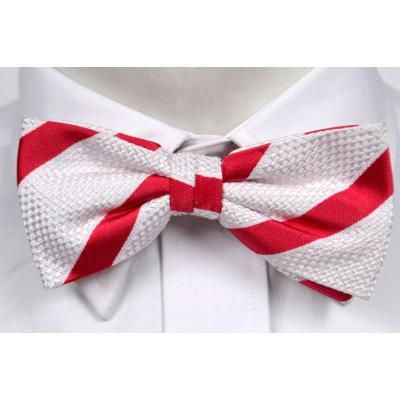 $19, Red and White Vertical Striped Bow-tie: Notch Silk Pre Tied Bow Tie Anton Striped Pattern In White And Red. Sold by Tieroom. Click for more info: https://lookastic.com/men/shop_items/83165/redirect