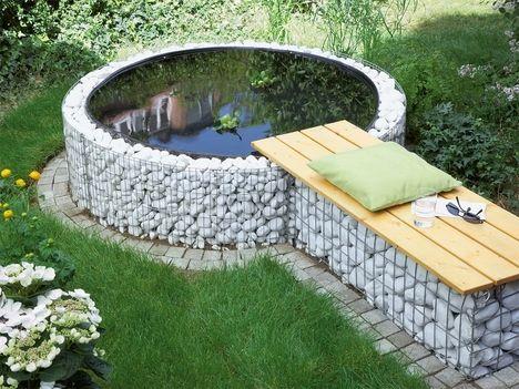 Gabionen Teich und Sitzbank hexenhaus Pinterest Teiche - schone garten mit teich