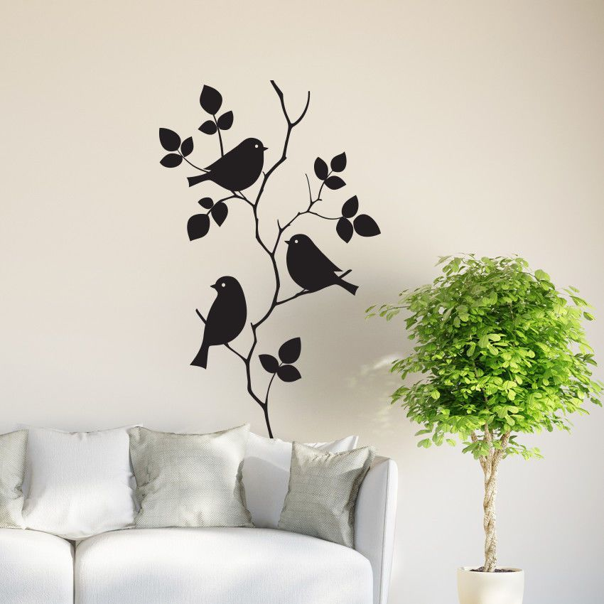 birds on tree branch wall vinyl sticker decal livingroom on wall stickers for hall id=94183