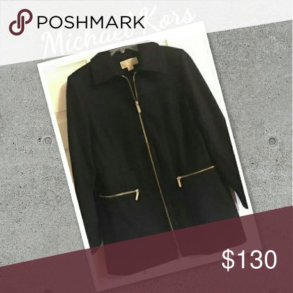 "Michel Kors Women's Peacoat EUC, Size Large, Wool Blend Mix, Black with Gold Zippers. Dressy and Warm. 31"" Length, 40""Chest Waist, 18"" Shoulders Michael Kors Jackets & Coats Pea Coats"