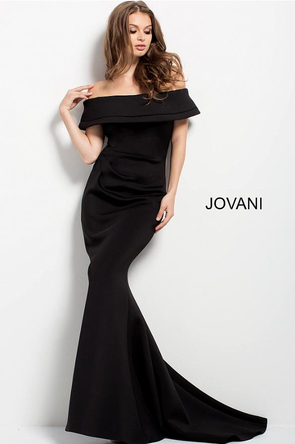 9e75001cc28 Jovani 42756 off the shoulder fitted neoprene gown with a ruched side.