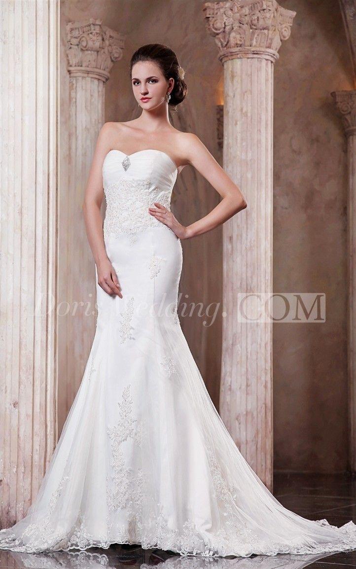Mermaid lace wedding dress  Sweetheart Ruching Mermaid Lace Wedding Dress With Lace Appliques