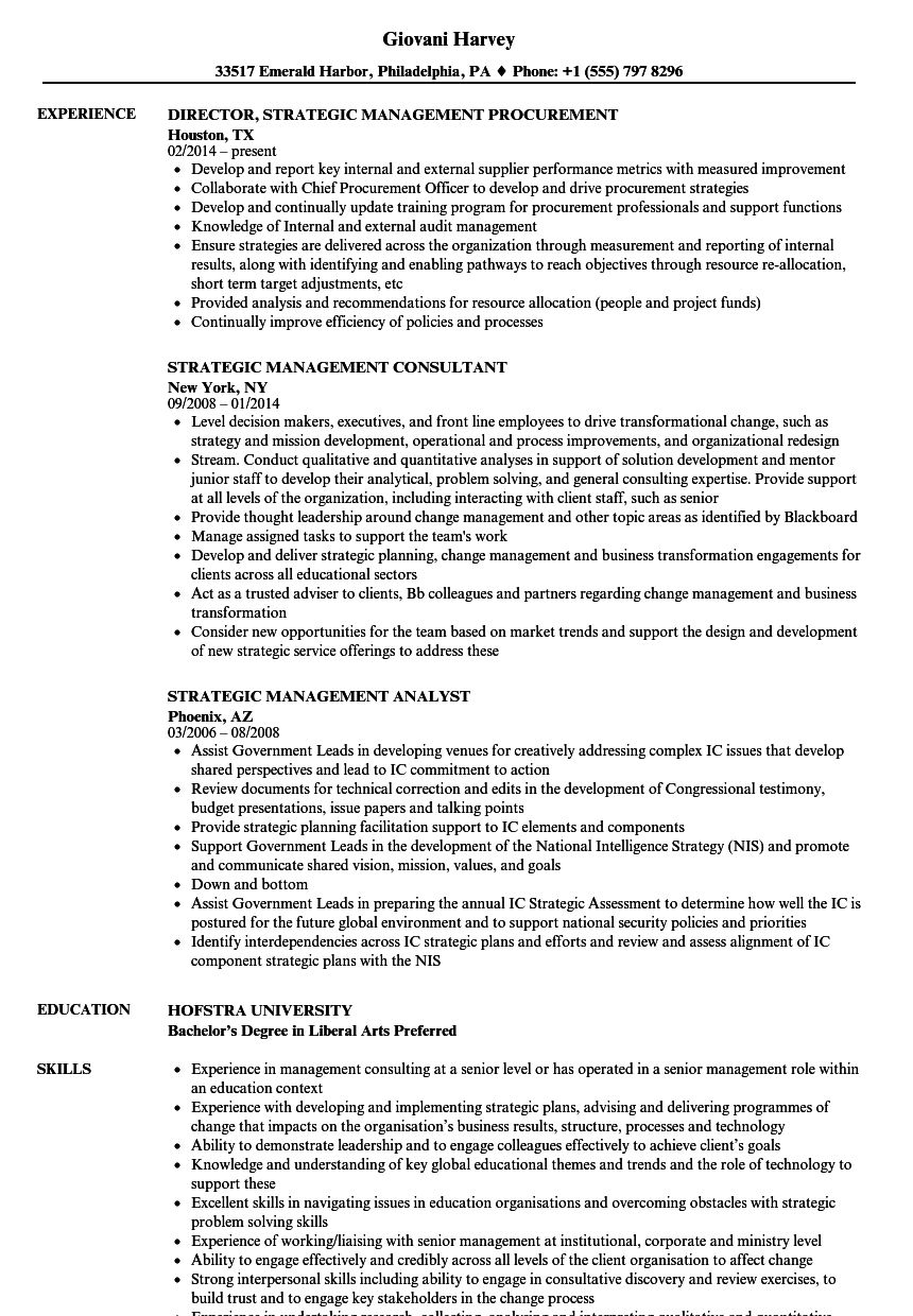 Strategic Management Resume Samples in 2020 Engineering