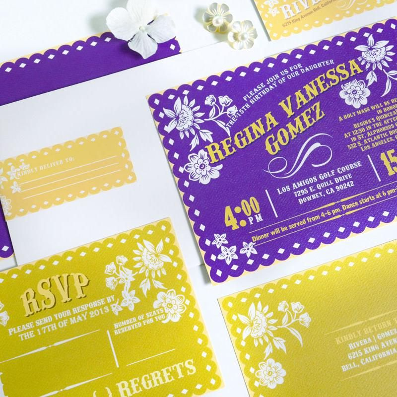 Purple And Gold Mexican Fiesta Inspired Papel Picado