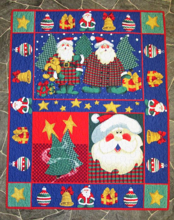 Christmas Holly Jolly Santa Baby Quilt Fabric Panels Machine