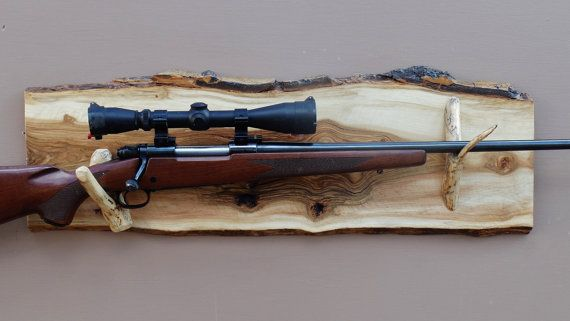 Long Gun Display Rack A-88 Aspen Backing with by RockyMtnLiving