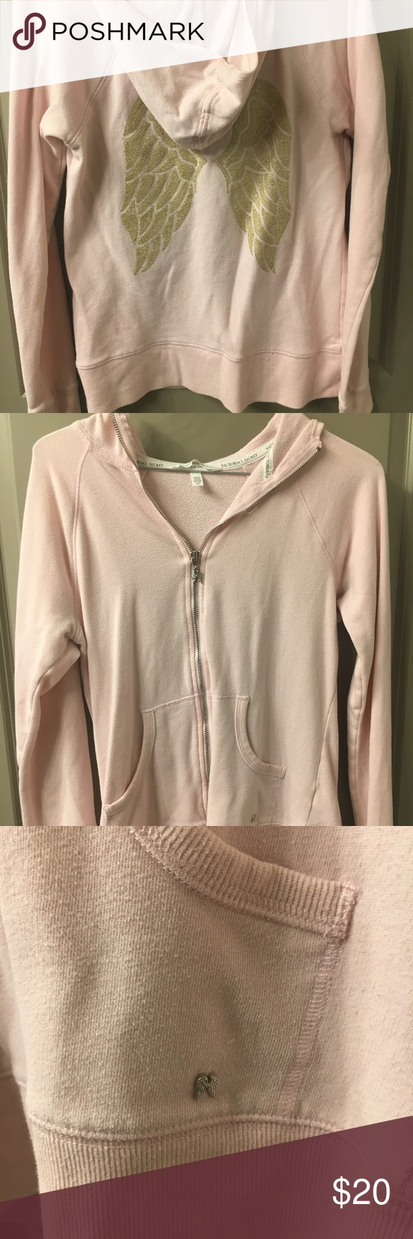 501551b4336 Victoria s Secret Gold Angel Wing Pink Zip Up No stains or tears. Pale Pink  Zip