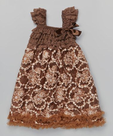 Take a look at this Brown Floral Pouf Dress by Tutu AND Lulu on #zulily today!