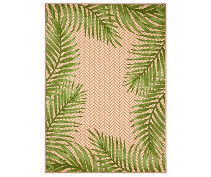 "Green & Tan Palm Leaves Indoor/Outdoor Rug, (4'11"" x 7') at Big Lots."