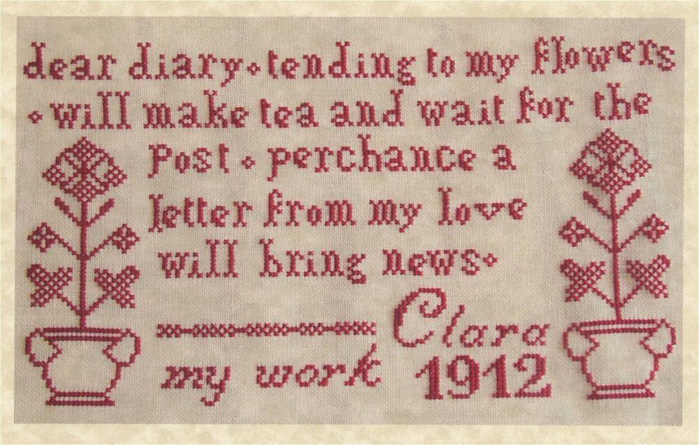 The Sampler Girl Clara S Redwork Sampler 1912 Antique Style