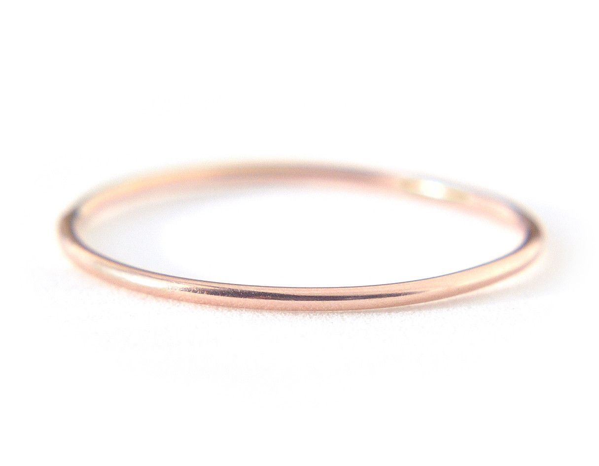 Ina Ring 08mm 14K Solid Rose Gold Rose Ring and Gold