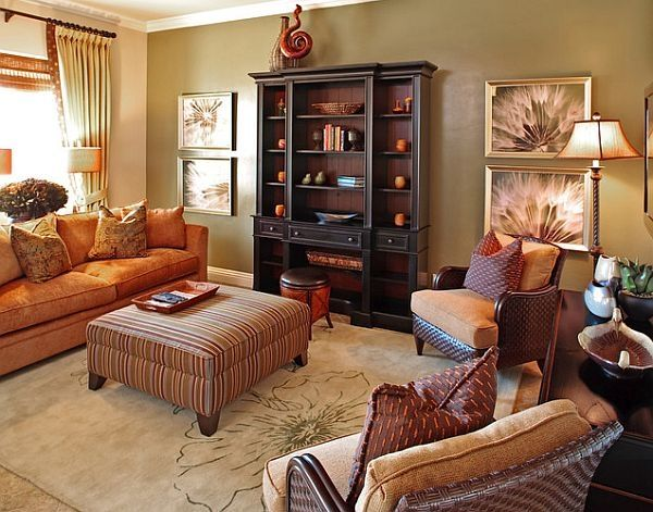 Living Room Decorated For Fall Home Autumn Fall Colors Warm