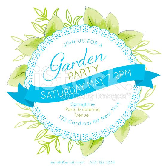 Watercolor feminine Garden Party Invitation Template. There are ...