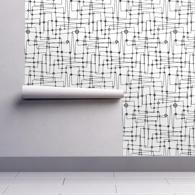 Mid Century Modern Wallpaper Astroboy Black White By
