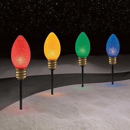 Trim A Home 4 Ct Large Bulb Christmas Pathway Lights