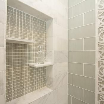 Large Subway Tiles And Small Mosaic Tiles Look Lovely In This Frameless Glass Shower Description