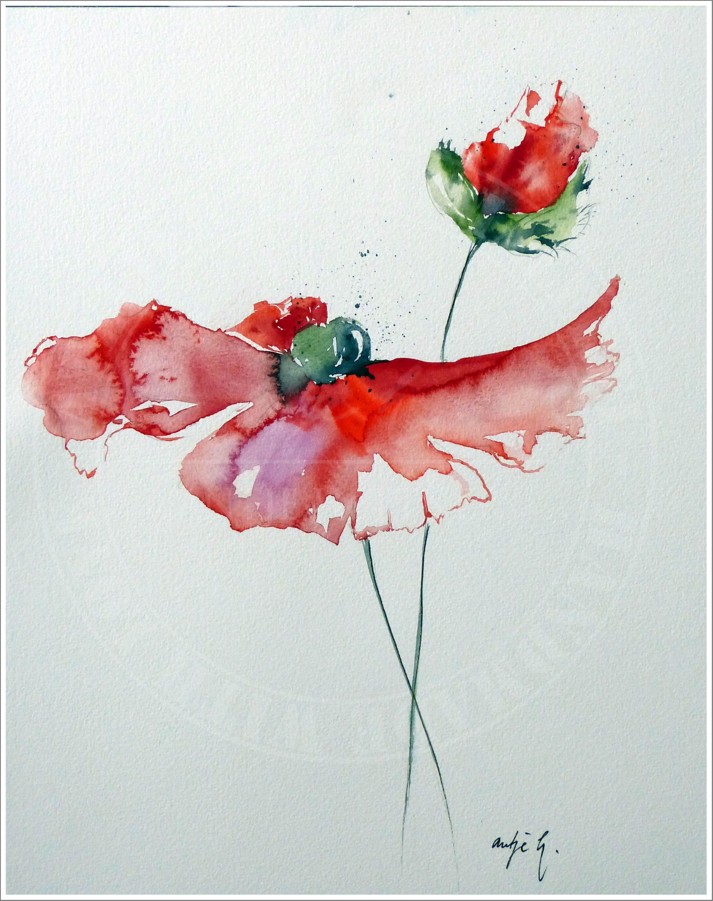Mohnvariation Watercolor 24x30 Antje Hettner Aquarell Watercolor Kunst Malerei Blumen Original Flowers Paintin Blumen Kunst Wie Man Blumen Malt Vintage Kunst