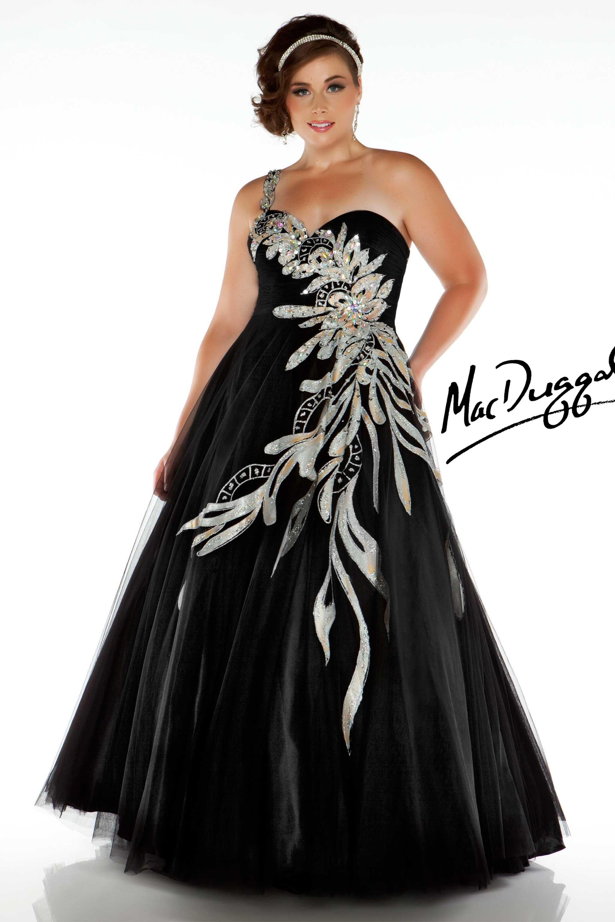 One Shoulder Black Plus Size Ball Gown - Mac Duggal 81851F ...