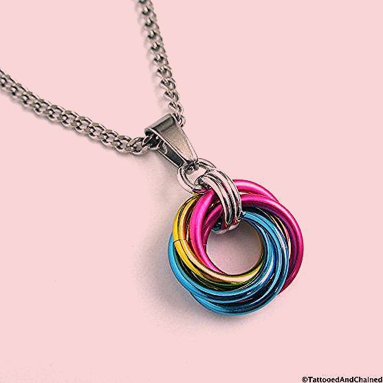 Photo of Pansexual pride pendant necklace, chainmail love knot, pan pride jewelry, pink yellow blue