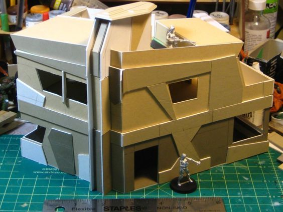 Wirelizard getting busy with cardboard for Infinity terrain