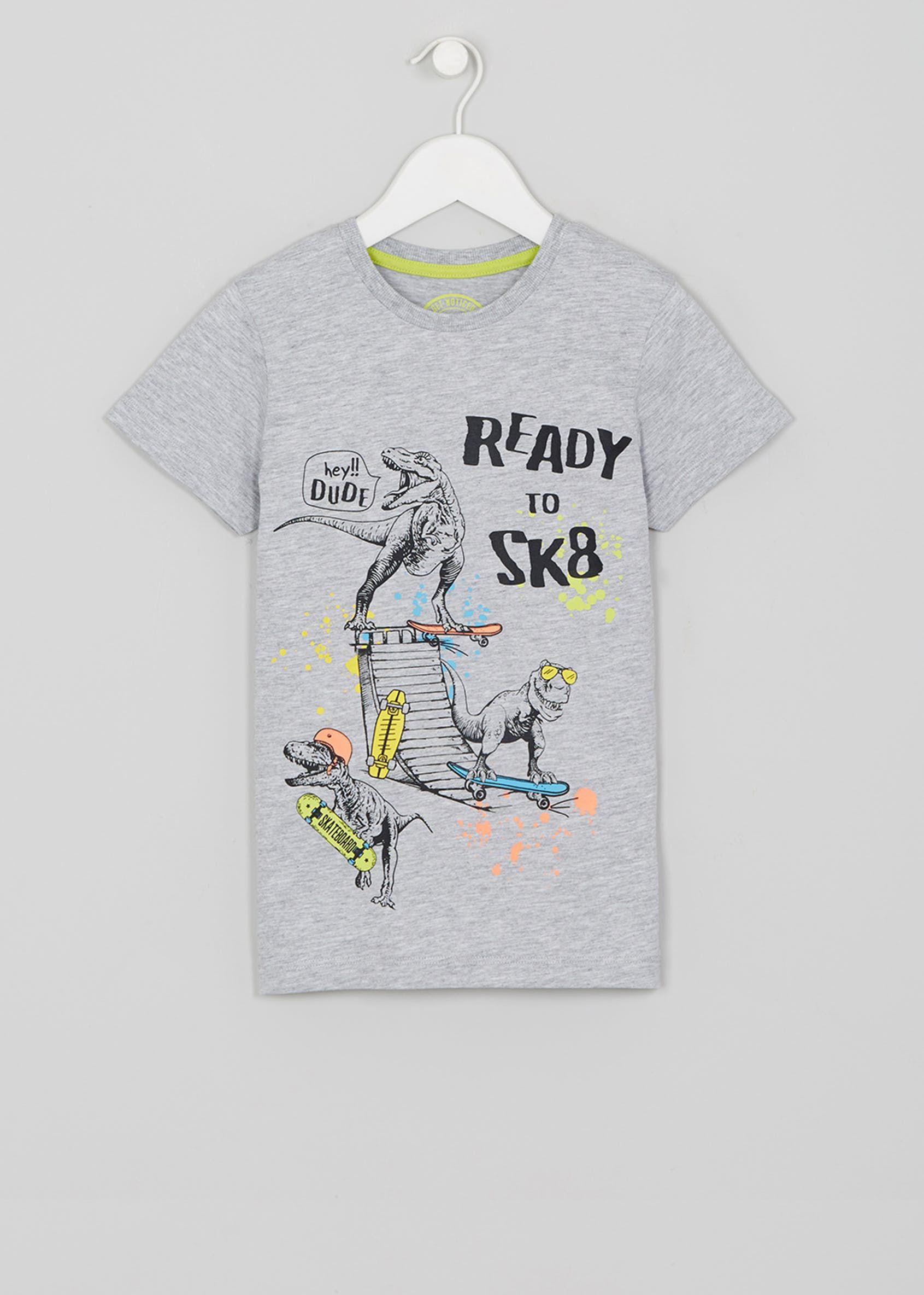 9a09fc83d Kids Dinosaur Skate T-Shirt – Grey   dinos   Skate t shirts, Shirts ...