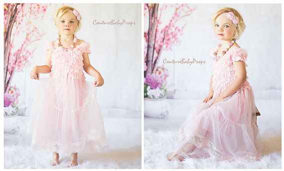 Vintage Baby Pink Lace Girls DRESS Ruffle by CoutureBabyProps
